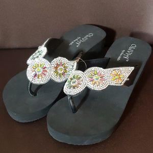 Black Sparkle Wedge Flip Flops